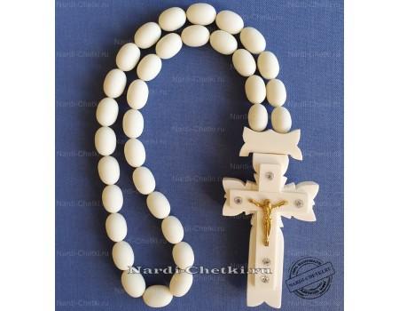 """Купить православные четки """"Крест-3"""" из кости и шара"""